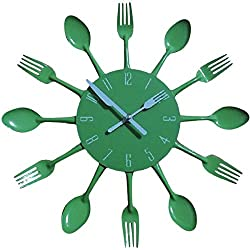 Kitchen Wall Clock, Timelike 3D Removable Modern Creative Cutlery Kitchen Spoon Fork Wall Clock Mirror Wall Decal Wall Sticker Room Home Decoration (Green)