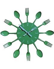 TimeLike - Orologio adesivo 3D da cucina, effetto specchiato, con motivo forchette e cucchiai, rimovibile, da arredamento