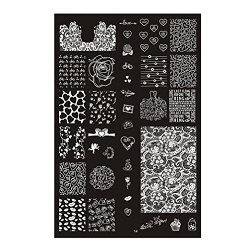 ❤JPJ(TM)❤️ Stickers for Nail Art Design,Women Nail Stickers,Pattern DIY Nail Art Image Stamp Stamping Plates Manicure Template Best Gift For Your Nails (Halloween Black N White Nails)