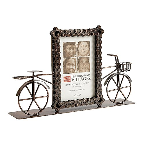 Handcraft Photo Frame - Recycled Bicycle Chains Picture Frame for 4x6 Photo On Bicycle Theme Stand 'Bike Ride Photo Frame'