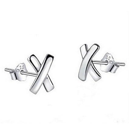 8d8610dd0 Amazon.com: HOMEYU® 925 Sterling Silver Stud Earrings Cross Stud ...