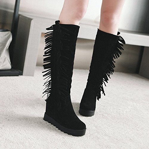 Carolbar Womens Tassels Platform Retro Hidden Heel Knee High Boots Black 5pL1t