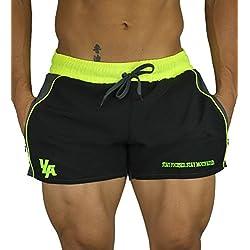 YoungLA Men's Bodybuilding Gym Running Shorts Medium NeonStrap