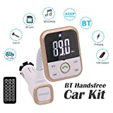 Bluetooth FM Transmitter Wireless In-Car Radio Adapter/Car Charger/MP3 Player/5V 2.1A/Handsfree Calling for iPhone,iPad,Android Phone (Gold)