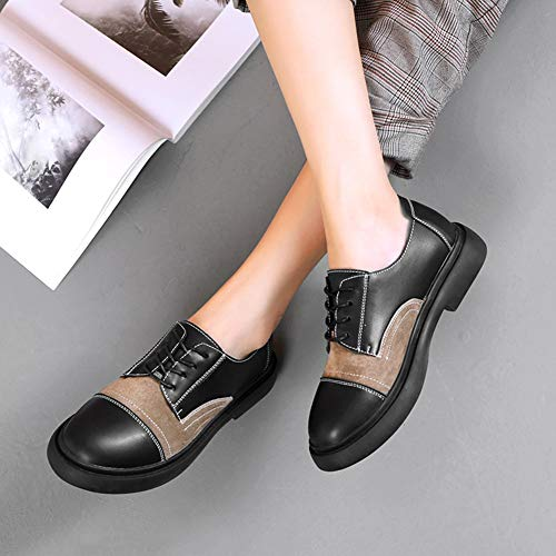 Style 39 Femme Khaki couleur Taille Cuir Hwf Universitaire Simples Femmes Black Khaki En Décontractées Britannique De Chaussures Pour Automne 18wSw