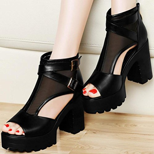 Roma Casuales Summer Zapatos De Fish Style Hilo High Zapatos Mouth Heels Mujer MUYII De New Coreano Meshblack Sandalias Red Con pqtXXUw