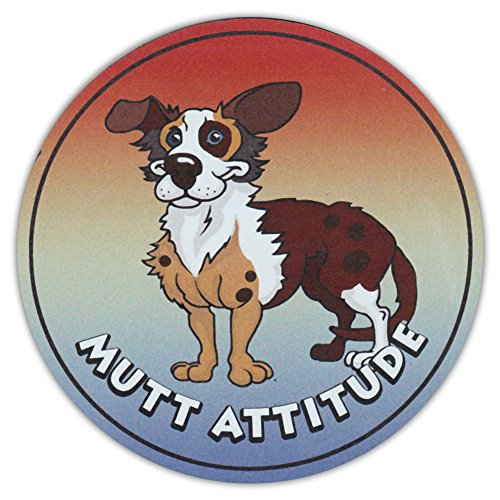 Round Dog Breed Car Magnet - Mutt Attitude - Magnetic Bumper Sticker