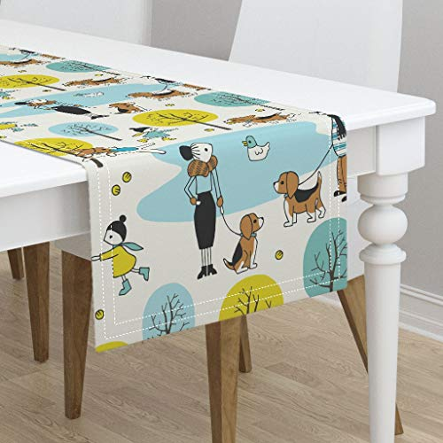 Table Runner - Beagle Who's The Cutest Pup Large Dog Park Illustration Autumn Beagle Dog Lake by Heleen Vd Thillart - Cotton Sateen Table Runner 16 x ()