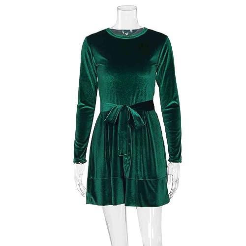 Zhiyuanan Donna Colore Solido Abito Maniche Lunghe Il Collo Rotondo Floccaggio Vestiti Moda Casual B...