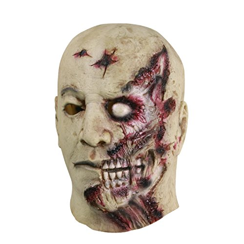 - molezu Halloween Novelty Mask Costume Party Latex Zombie Horror Mask Gray