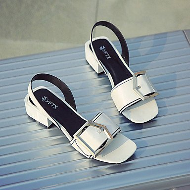 pwne Sandalias Mujer Club Pu Primavera Verano Vestidos Zapatos Casual De Amarre Cinta Chunky Talón Negro Blanco 2A-2 3/4 Pulg. US6.5-7 / EU37 / UK4.5-5 / CN37