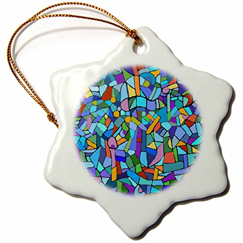 3dRose orn_58376_1 Bright Vibrant and Colorful Blue Gaudi Inspired Mosaic Pattern-Stain Glass Like-Snowflake Ornament, Porcelain, ()