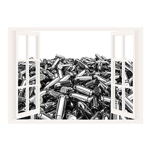 SCOCICI Creative Window View Home Decor/Wall Décor-Silver,Pile of Nine Millimeter Silver Bullets in 3D Style Ammunition Handgun Firearm Theme,Grey White/Wall Sticker ()