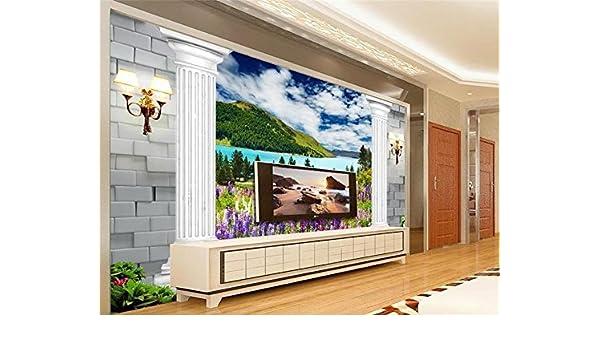 Weaeo 3D Wallaper Foto Personalizada No Tejida Wallpapr Tv Murales De Pared Paisaje Europeo Lavanda Columna Paisaje 3D Papel Pintado Decoración Del Hogar-280X200Cm: Amazon.es: Bricolaje y herramientas