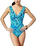 Lauren Ralph Lauren Womens V-Neck Ruched Blue Floral Underwire Print One Piece Swimsuit (10)