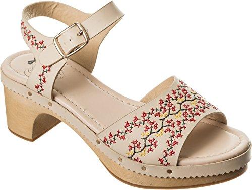 Dancing Days COME Cross Stitch Vintage Floral Holz Sandalen / CLOGS Rockabilly Cremeweiß mit Kreuzstich-Stickerei