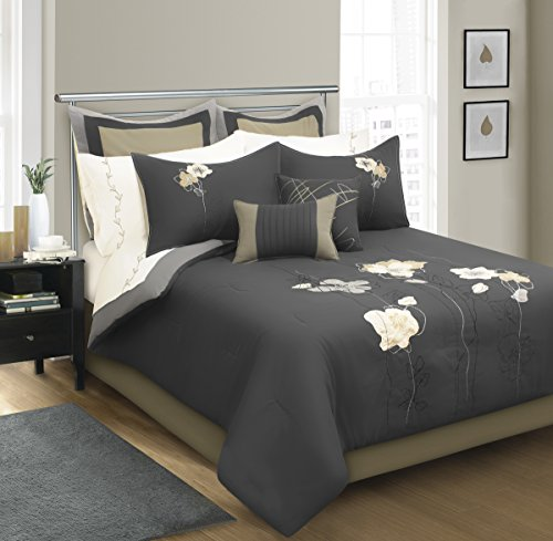 Amelia Comforter Set - Safdie 60570.8K.75 WOV King Amelia Grey Comforter Set (8 Piece)