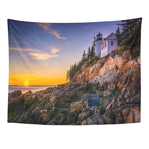 Remain Unique Tapestry Blue Bass Harbor Lighthouse at Sunset in Acadia National Park Maine Colorful Wall Hang Decor Indoor House Made in Soft