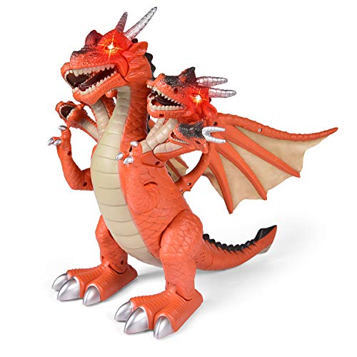 Dragon Toys for Boys, Seven Heads Walking Dragon 11.8(L)×11.4(H) Large Size with Lights and Sounds, Dinosaur Toys for Kids