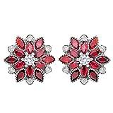 ruby crystal earrings - EleQueen 925 Sterling Silver Full Cubic Zirconia Bridal Flower Stud Earrings 15mm Ruby Color