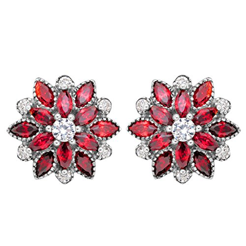 EleQueen 925 Sterling Silver Full Cubic Zirconia Bridal Flower Stud Earrings 15mm Ruby Color
