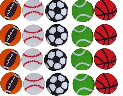 (Erasers 60 Pcs Assorted Sports Ball Pencil Erasers For Kids - Holiday Gift, Children's Gift Party Favor, Great Fun!! By Mega Stationers )