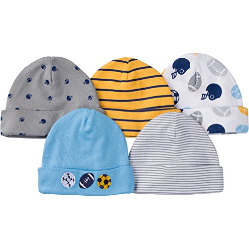 Gerber Baby Boys' 5 Pack Caps, New Sport, 0-6 Months ()