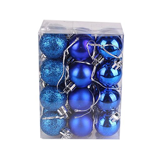 weijij 24pc 30mm Christmas Ball Ornaments Set Xmas Tree Hooks Balls Bauble Shiny Glitter Baubles Hanging Home Party New Year Decor Shatterproof Holiday Wedding Decorations (Blue) -