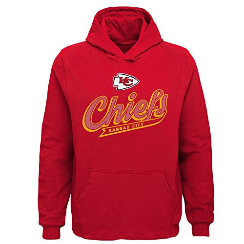 (Outerstuff NFL Kansas City Chiefs Kids & Youth Boys Pioneer Sueded Fan Classic Hoodie, Red, Kids Large(7))