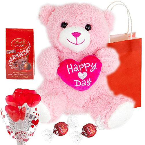 Princess Pink Teddy Bear, Lindit Lindor Milk Chocolate Truffles, Cherry Flavored Lollipop Bouquet and Valentine's Day Themed Gift Bag - 4 Items Total