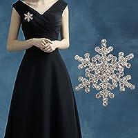 Nongkhai shop Silver Pearl Snowflake Diamante Brooch Rhinestone Crystal Brooch Pin Xmas Gift Color Silver