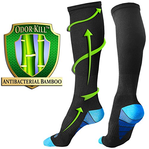 Bamboo Knee High Socks (BAMS Bamboo Odor-Kill Black Compression Socks for Men Women | ULTRA-SOFT Best Knee-High Graduation with Arch Ankle Support for Gym, Sports, Running, Work, Nurse, Pregnancy, Medical, Diabetic, Travel)