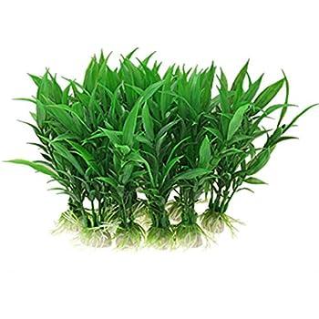 Jardin Plastic Aquarium Tank Plants Grass Decoration, 10 Piece, Green