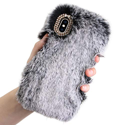 Plush Case for iPhone Xs Max 6.5 inch Rabbit Fur Case,LCHDA iPhone Xs Max Bunny Furry Fluffy Fuzzy Phone Case for Girls Cute Winter Warm Hair Soft TPU Back Case Cover with Luxury Diamond Bowknot-Gray ()