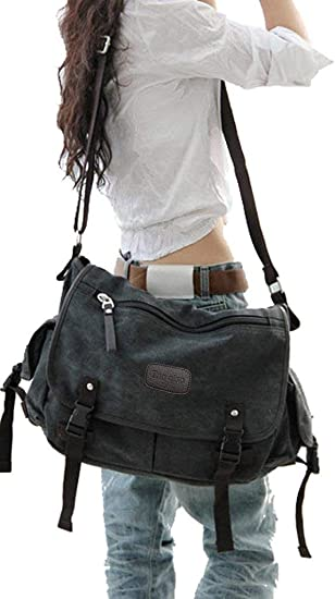 Canvas Messenger Laptop Books Sling Bag Single Shoulder Strap Crossbody Backpack