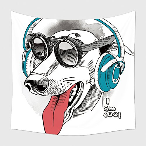 Home Decor Tapestry Wall Hanging Portrait Of A Funny Dog Greyhound Wearing Blue Headphones And With Sunglasses Vector Illustration for Bedroom Living Room - Dragon Sunglasses Phase