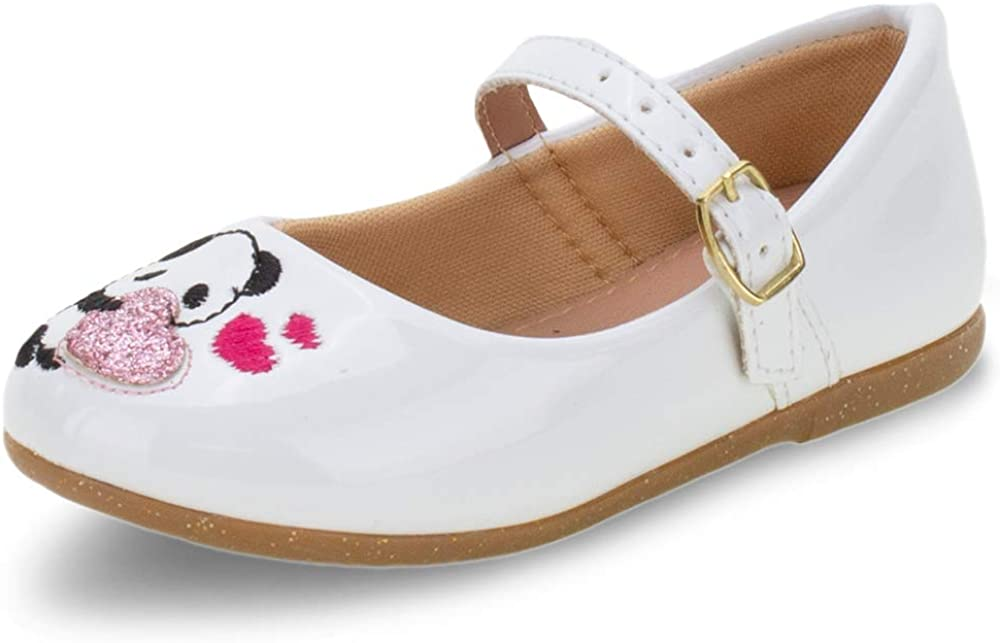 Lalilu Kids' Mary Jane Flat Panda heartcute Comfort Bow Girl White