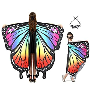 Butterfly Wings for Kids Women Halloween Costume with Mask Cloaks Soft Fabric Shawl Fairy Ladies Nymph Pixie Costume for Girls Dress Up Party Favors Halloween Cosplay Costumes¡