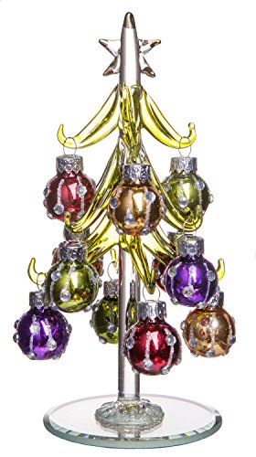 Green Christmas Tree with Multi-Colored Removable Sphere Ornaments, Small Glass Decoration, Holiday Season Décor, 6-inch