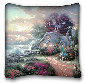 """Soft Pillow Case Cover ( City Kincaid home coast sea road ) Pillow Covers Bedding Accessories Size 16""""X16"""" suitable for X-Long Twin-bed PC-Green-4435"""