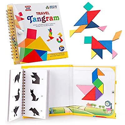 Coogam Travel Tangram Puzzle with 3 Set of Magnetic Tangram - Road Trip Tangoes Jigsaw Shapes Dissection Games with Solution - IQ Book Educational Toy Brain Teaser Gift for Kid Adult Challenge