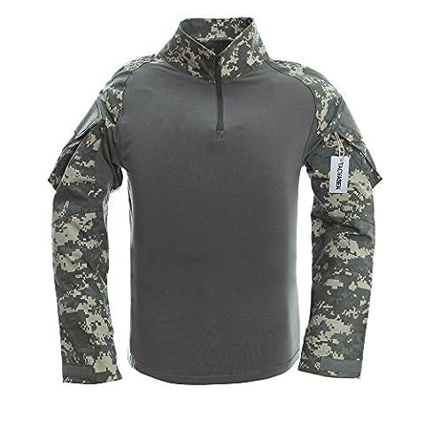 TACVASEN Mens Camouflage Camo Active Assault Long Sleeve T-shirt Tops ACU - Woodland Camouflage Tee T-shirt Top