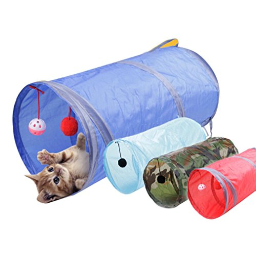 Sinwo Pet Cat Play Tunnel Funny Cat Long Tunnel Kitten Play Cat Toys Cats Gift (Blue)