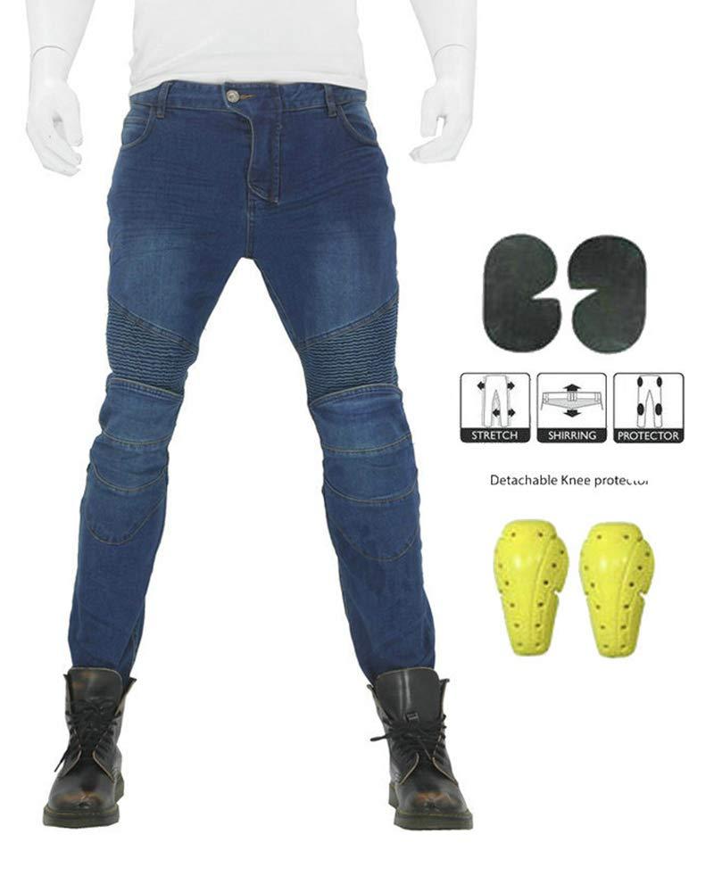 GELing Jeans uomo Pantaloni uomo Moto Protezioni Omologate Rinforzi Kevlar,Nero,S