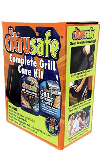 Grill Cleaning Kit - BBQ Grid And Grill Grate Cleanser, Exterior Cleaner, and Scrubber By Citrusafe (16 oz each)