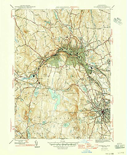 Hill Rollstone (YellowMaps Fitchburg MA topo map, 1:31680 Scale, 7.5 X 7.5 Minute, Historical, 1946, 20.7 x 17 in - Tyvek)