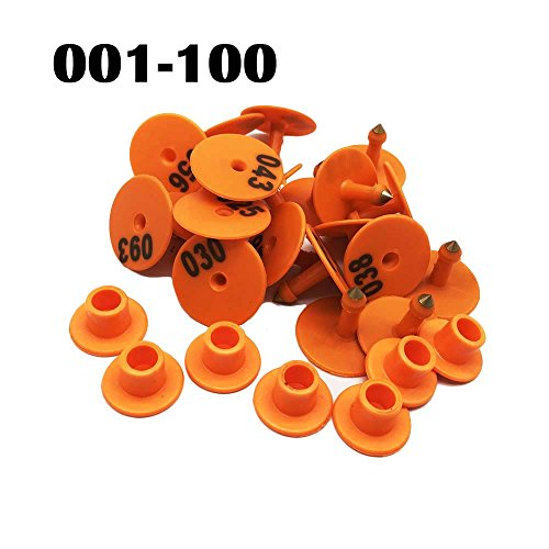 100pcs No 001~100 Dia 30mm Anti Dropping Round Animal Ear Tag Pigs Sheep Goats Ear Marks (Orange)