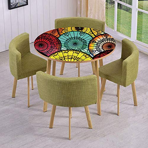 Round Table/Wall/Floor Decal Strikers/Removable/Tribal Parasols at Indonesian Street Market Vibrant Heritage Boho/for Living Room/Kitchens/Office Decoration