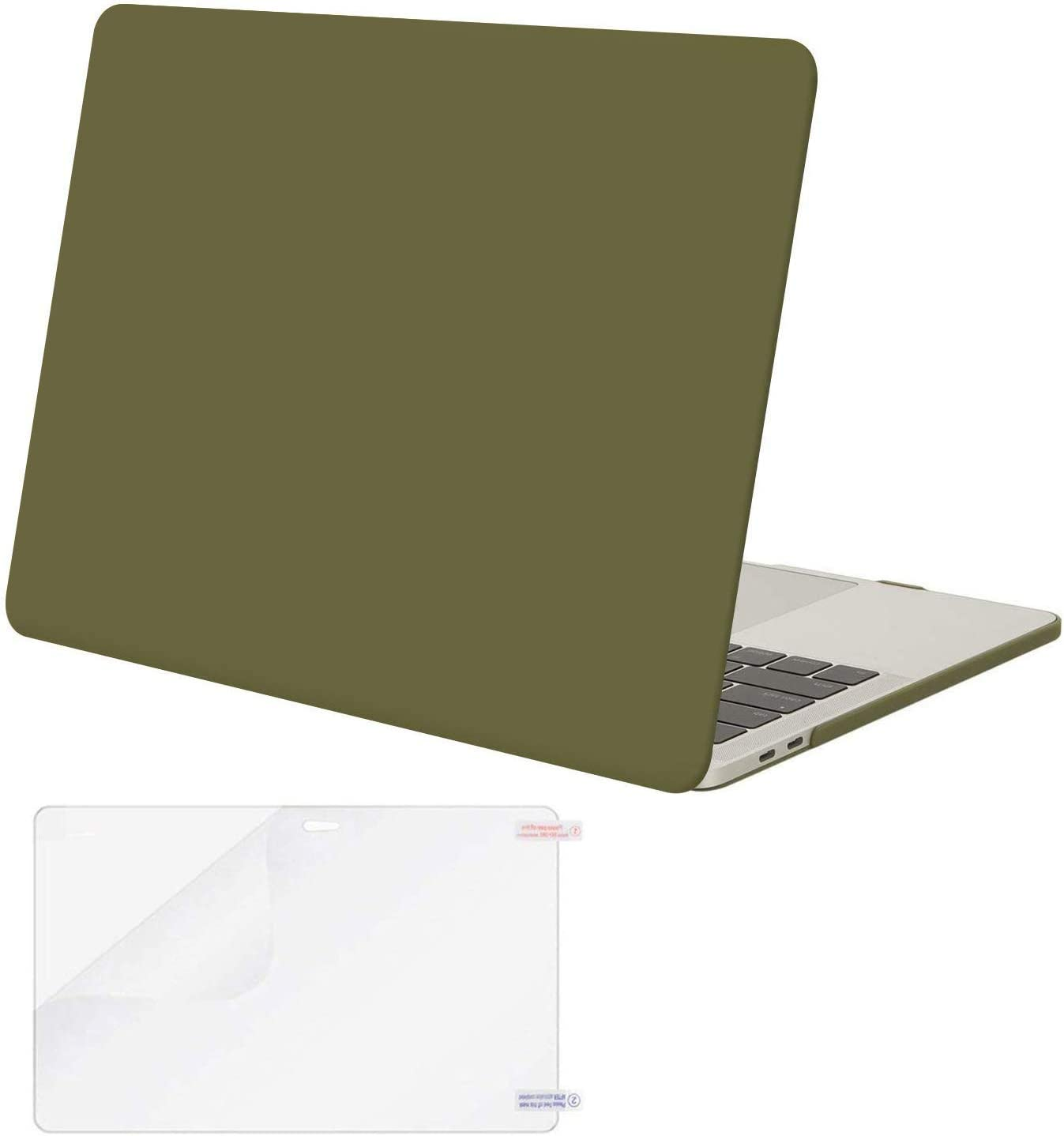 MOSISO MacBook Pro 13 inch Case 2019 2018 2017 2016 Release A2159 A1989 A1706 A1708, Plastic Hard Shell Case&Screen Protector Compatible with MacBook Pro 13 inch with/Without Touch Bar, Capulet Olive