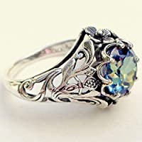 jindarat 2.3ct Aquamarine Women Jewelry 925 Silver Wedding Vintage Ring Size 6-10 (8)
